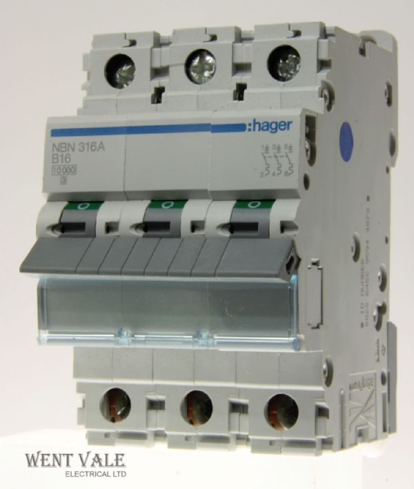 Hager NBN316 - 16a Type B Triple Pole MCB Unused